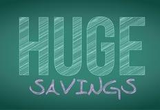 Huge savings written on a chalkboard. illustration Royalty Free Stock Photography