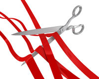 Huge scissors cut many ribbons Royalty Free Stock Photo