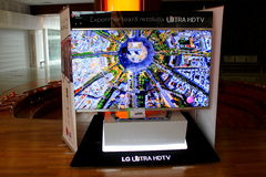 Huge screen TV LG ULTRA HDTV 3D. At mall in Romania royalty free stock photo