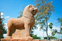 Huge  sculpted lion detail of Five Rathas temple Royalty Free Stock Photo