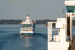 Huge sea ferry. Runs along the islands Royalty Free Stock Photo