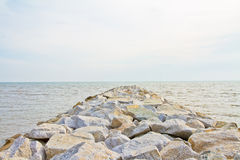 Huge Sea Stone Embankment Stock Image