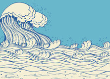 Huge sea waves. Vector illustration of symbol of nature Stock Photos