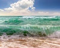 Huge Sea waves Running On Sandy Beach Stock Photography
