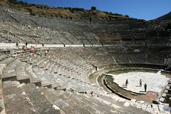 The huge seating area of the Roman theatre ruins at the ancient site of Ephesus in Turkey. Stock Photos