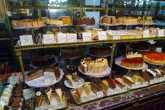 A huge selection of cakes, pastries and other sweets of the famous confectionery cafe Demel, Vienna, Austria. Vienna, Austria - October 22, 2017: A huge stock images