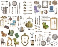 Huge set of antique items.Vintage household items, silverware, furniture and more. Isolated on white background stock photo