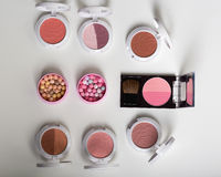 Huge set of beauty cosmetics or make-up laid flat and askewed. blusher, top views Royalty Free Stock Photography