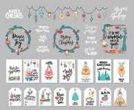 Huge set of Christmas and New Year design elements: cards, tags, wreaths, garland, hand written lettering. Stock Images