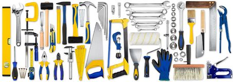 Hand tools set collection royalty free stock images