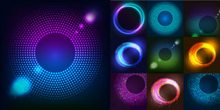 Huge set of glowing rounds with glitter. Abstract colored shape for your business idea. Vector  logo background illustrati Royalty Free Stock Images