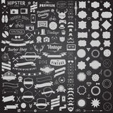 Huge Set Of Vintage Styled Design Hipster Icons. Vector Signs And Symbols Templates For Your Design. Royalty Free Stock Photo