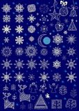 Huge set of paper snowflakes and hanging lacy decoration for winter holiday Stock Photos