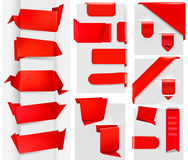 Huge set of red origami paper banners and stickers Royalty Free Stock Image