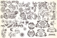 Huge set  of vector decorative elements. For design Stock Photos