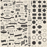 Huge set of vintage styled design hipster icons. Vector signs and symbols templates for your design.