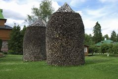 Huge sheaf of chopped firewood. Royalty Free Stock Photography