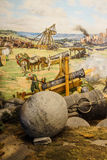 Huge siege cannon used in the final assault. And  fall of Constantinople in 1453. Diorama in Askeri Museum, Istanbul,  Turkey Stock Photography