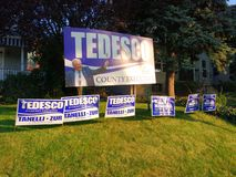 Yard Signs, Lawn Signs Endorsing American Political Candidates, Rutherford, NJ, USA. A huge sign in support of incumbent Jim Tedesco for Bergen County Executive stock photos