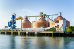 Huge Silos and other Port Facilities under Clear Sky Royalty Free Stock Images