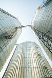 Huge, silver, shining agricultural silos. Stock Image