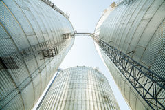 Huge, silver, shining agricultural silos. Stock Images