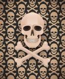 Huge skull on seamless dark pattern Royalty Free Stock Photo
