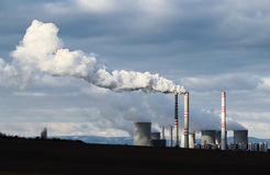 Huge smoke from brown coal power plant factory royalty free stock image