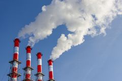 Toxic smoke from power station in the air stock photos