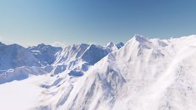 Huge snow-capped mountains 3D render Stock Photography