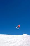 Huge snowboarding jump on slopes of ski resort in Spain Royalty Free Stock Image