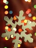 Huge snowflake and magic bokeh Stock Photo