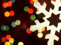 Huge snowflake and magic bokeh. Stock Images