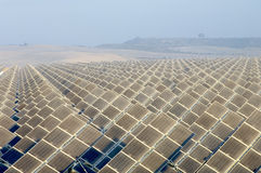 Huge solar energy field. View of a huge solar field in the morning Stock Photo