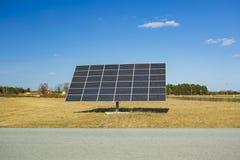 Huge solar panel on blue sky background. New technology concept.