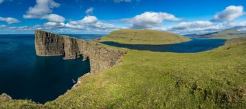 Sorvagsvatn lake over the ocean spectacular gigapan, Faroe Islands