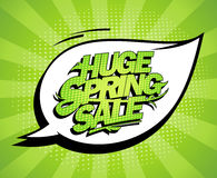 Huge spring sale design, fresh green advertising banner. Comic style royalty free illustration