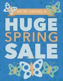 Huge spring sale poster in vector file format Royalty Free Stock Image