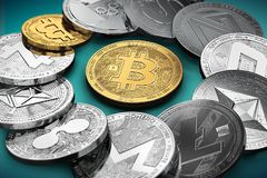 Huge stack of cryptocurrencies in a circle with a golden bitcoin in the middle royalty free illustration