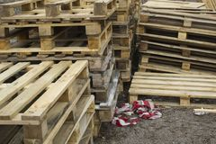 Huge stack of different type of pallet at a recycling business area. Huge stack of different type of pallet at a recycling business outdoor area stock photography