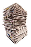 Stack of newspapers on white Stock Photography