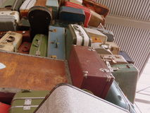 Huge Stack of Old Luggage Royalty Free Stock Photography