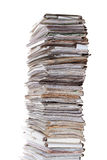 Huge stack of papers. Isolated on white Stock Image