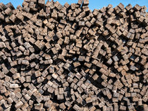 Huge stack of railroad ties Stock Images