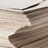 Huge Stack of Recycled Paper envelopes  closeup. Business concep Royalty Free Stock Image