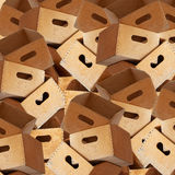Huge stack of wooden containers Stock Photo