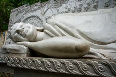 A huge statue of the reclining Buddha.Pagoda Belek.Nha Trang.Vietnam. Royalty Free Stock Images