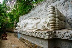 A huge statue of the reclining Buddha.Pagoda Belek.Nha Trang.Vietnam. Stock Photos