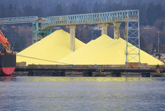 Huge stockpile of industrial sulfur Stock Images