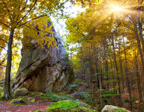 Huge stone in the autumn forest Royalty Free Stock Photography